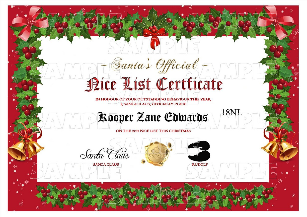 Personalised santa letter goodnice list certificate sexy adult range of naughty and nice lists yadclub Image collections