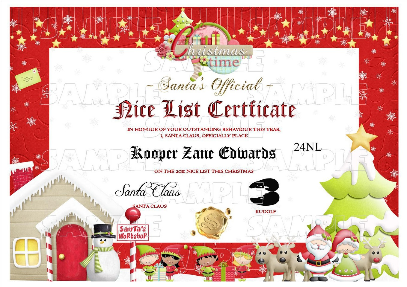 ... Santa Letter - Good/Nice List Certificate North Pole Postage Stamp