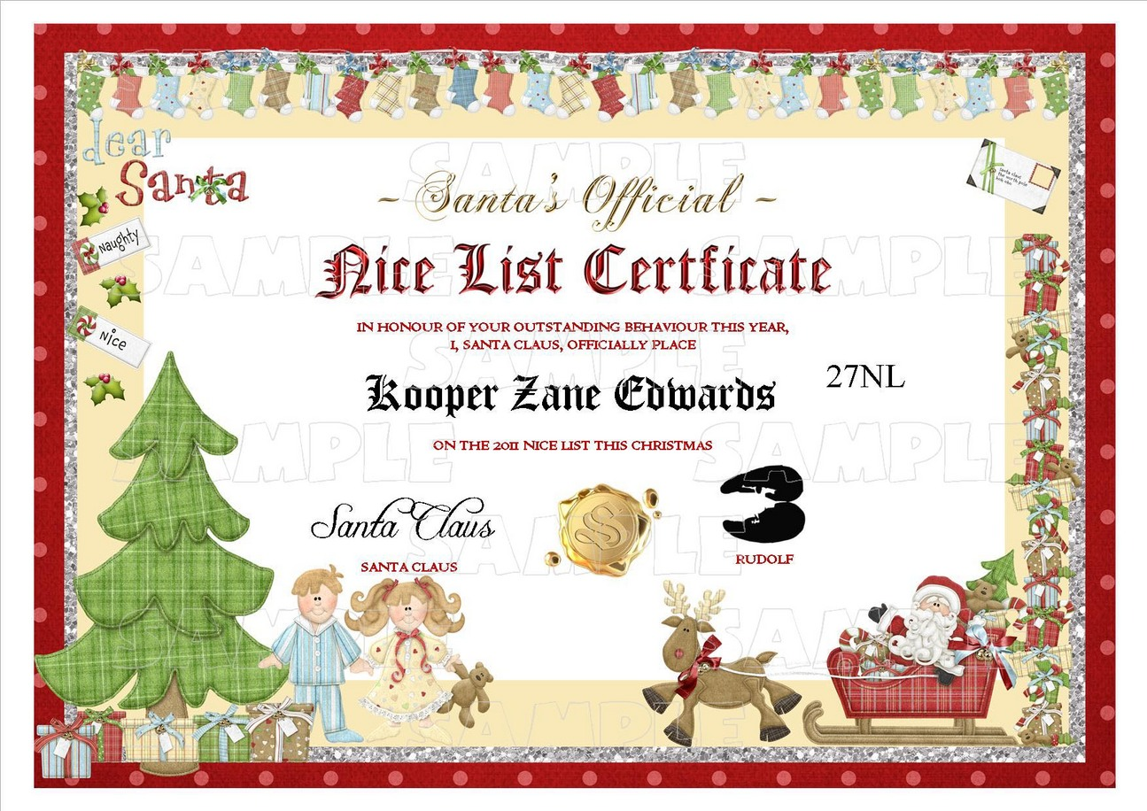 Personalised santa letter goodnice list certificate sexy adult range of naughty and nice lists yelopaper Images