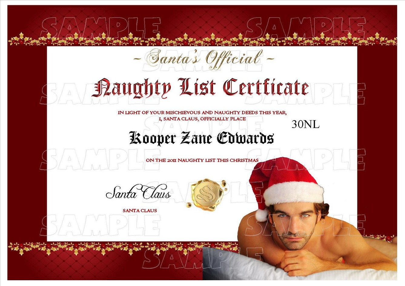 personalised santa letter good nice list certificate sexy adult range of naughty and nice lists