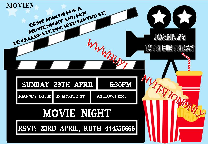 Movie Night Birthday Invitations & Party Favours and Supplies