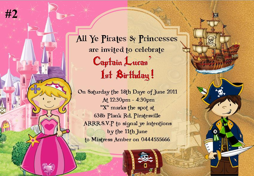Pirate Princess Mermaid and Fairy Party Invitations – Princess and Pirates Party Invitations